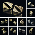 Fashion Classic Stainless Steel Silver Wedding Business Crystal Mens Cufflinks