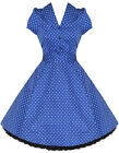 Hearts & Roses Blue Alana Retro Dress 50's Rockabilly Vintage Pinup Size 8-26