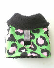 Pet Dog Winter Clothing Green Pink Leopard Bling Bling Harness Coat Warm XXXS-XL