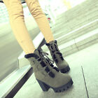 Punk Womens Lace Up High Platform Shoes Warm Fur Lined Block Heel Ankle Boots