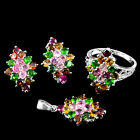 GORGEOUS! REAL FANCY COLOR TOURMALINE,CHROME DIOPSIDE STERLING 925 SILVER SET