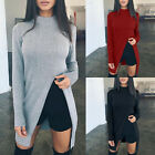 Fall Winter Trendy Womens Casual Long Sleeve Split Jumper Tops Pullover Sweater