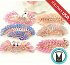 Peacock Feather bridal Jewelry Rhinestone Crystal Hair Barrette Clip Gem Bling