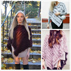 Brand New Fluffy Real Rabbit Fur Knitted Wrap Shawls Cape Poncho Scarf Xmas Gift