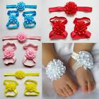 Baby Girls Barefoot Sandals And Headband New