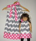 Dolly and me Matching American girl doll dress graychevron dots pillowcase dress