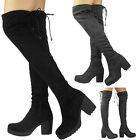 Kyпить Womens Ladies Over The Knee Thigh High Boots Stretch Lace Up Mid Heel Shoes Size на еВаy.соm