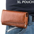 for XL LARGE Phones - BROWN PU Leather Pouch Holder Belt Clip Holster Cover Case