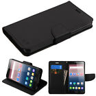 For Alcatel Pop 4S Leather Flip Card Wallet Case Cover Stand Magnet Pouch Black
