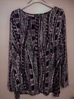 MAUVE AND BLACK PRINT, 3/4 SLEEVE TOP ,SCOOP NECK BNWT