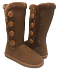 Women's Fur- Lined Mid-calf 4-Buttons Faux Soft Snow Winter Flat Boot Shoes