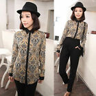 Vintage Womens Lady Peacock Feather Totem Long Sleeve Casual Shirt Blouse New
