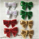 Miss SPARKLES - CHRISTMAS Baby/Girls Sequin Mini Bow Hair Clips White/Red/Gold