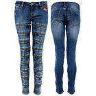 Womens Stretch Zip Art Jeans Bar Slim Fit Denim Love Stone Wash Blue All New