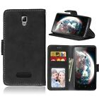 For Lenovo Frosted Leather Flip Wallet Card Slot Soft TPU Stand Cover Case