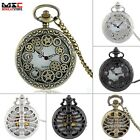 Steampunk Gear Antique Style Pocket Watch Pendant Quartz Necklace Chain Men Gift