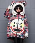 New Kids Girls Winter Fur Hooded Floral Print Long Coat Warm Knee Lenght Outwear