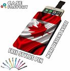 Canada Wavy National Country Flag - Universal Leather Pouch Phone Case Cover