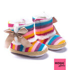 Knitted Rainbow baby toddler winter boots with golden bow - by Moshi Babies