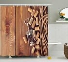 Wine Decor Shower Curtain Rustic Table Corks Bathroom Decor