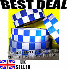 Reflective Silver Blue Print Chequer Check Tape POLICE Sew On Hi Viz Safety 1M