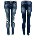 Womens Stretch Jeans SlimFit Skinny Denim Frayed Distressed Slimming Bum Lift