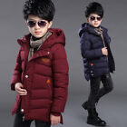 Children Kids Boys Down Coats Hooded Cotton-Padded Jackets Trench Long Outerwear