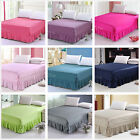 King/Queen Size Pleated Valance/Bed Skirt 100%Cotton Bed Fitted Sheets Set New
