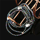 Bling Diamond Pearl Chain Earphone Stereo Earbud With Mic for iPhone Samsung PC