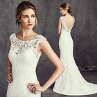 New White/Ivory Lace Bridal Gown Wedding Dress Custom Size 6 8 10 12 14 16