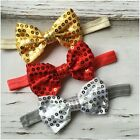 Miss KIERA - CHRISTMAS Newborn Baby Girls Sequin Bow Stretch Headband Red/Gold