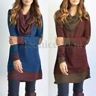 Retro Women Cowl Neck Loose Casual Shirt Dress Patchwork Splice Long Tops Blouse