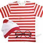 Mens Red White Striped TSHIRT HAT & GLASSES Fancy Dress outfit Wheres Book Week