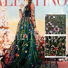 """1~4 Yards Lace Fabric Black Tulle Exquisite Floral Alice Embroidered Dress 51"""""""