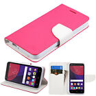 Alcatel PiXi 4 (5) (6) Theatre Leather Flip Card Wallet Case Cover Stand PINK