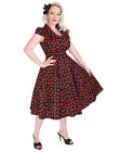 Hearts and Roses (H&R) Retro Rockabilly Pin Up Cherry Blossom Dress Black