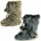 Men's Pull On Fur Effect Upper Yetti Style Snow Boots with Pompoms. Reflex A3014