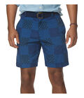CHAPS Mens Shorts Size 42 Patchwork Print Flat Front Blue Cotton MSRP $55 NEW