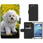 Phone Card Slot PU Leather Wallet Case For Samsung Bichon Frise small white dog