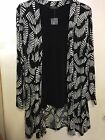 BLACK AND WHITE PRINT JACKET AND PLAIN VEST, FAKE WATERFALL TOP,3/4 SL, BNWT UK