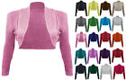NEW WOMENS LADIES LONG SLEEVE KNITTED BOLERO SHRUG CARDIGAN TOP SIZE 8-14