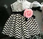 Pet Dog Clothing Silver Sequin Black White Stripe Pink Rose Harness Dress XXXS-L