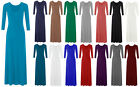New Women's Ladies Plain Colour Long Sleeve Flare Maxi Jersey Dress Size 8-26