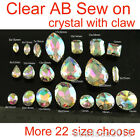 Clear ab foiled glass sew on D/ear claws crystal drop/oval/rectangle rhinestones