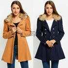 New Lady Womens Fur Collar Double Breasted Long Jacket Trench Coat Parka TXST
