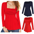 US Womens Long Sleeve Casual Square Neck Plicate Ruched Tank T-Shirt Tops Blouse