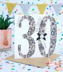 Personalised Handmade 30th, 40th Birthday Card, Sister, Daughter, Friend