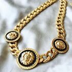 Women's Necklace Collarbone Triple Lion Heads Short Gold Euramerican Collar New