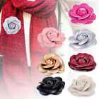 2pcs 6cm PU Leather Camellia Brooch Vintage Classic Corsage Pin Flower Decor DIY