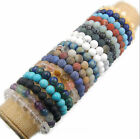 "Natural Round Stone Beads Stretch Bracelet Jewelry 7.5"" 4mm 6mm 8mm 10mm 12mm"